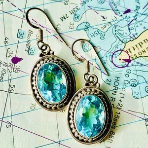Sterling silver .925 drop earrings blue topaz